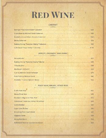 Tavern 1929: Red Wine List