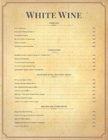 Tavern 1929: White Wine List