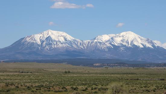 Lathrop State Park: a view of the Spanish Peaks from the park.