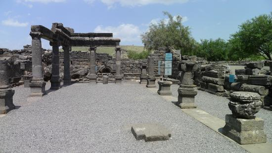 Capernaum, Izrael: inside synagogue at Korazim (Chorazim)