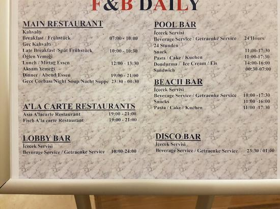 Alba Queen Hotel: Daily food and beverage