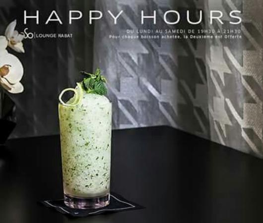 So Lounge Rabat: Nous vous attendons chaque soir de 19h30 à 21h30, pour des Happy Hours exceptionnelles.  Info &