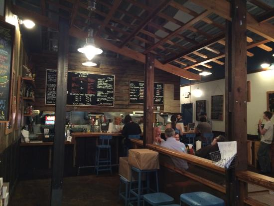 Farm Burger Decatur: Rapid counter ordering with choices brought to your table...