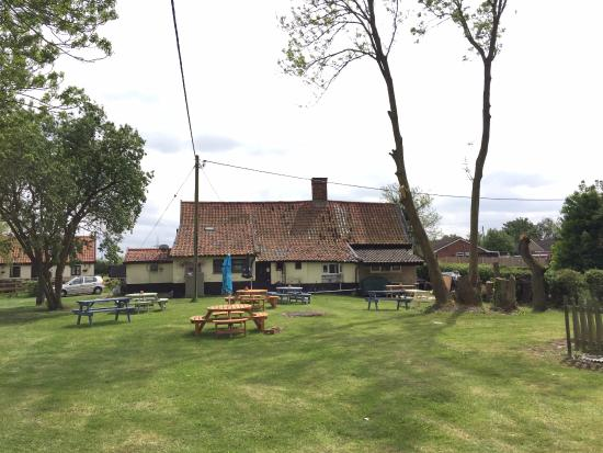 Great Moulton, UK : The huge beer garden - kids and fourleggeds welcome.