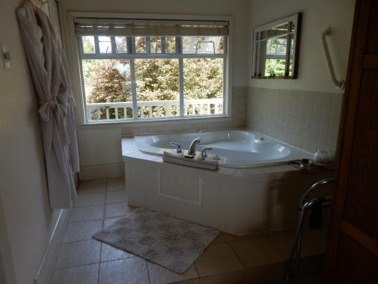 Quarrystone House Bed & Breakfast: Three small windows that open above the tub