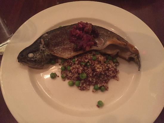 Green Street : PAN ROASTED RAINBOW TROUT with quinoa, sugar peas, morels, ramps, orange salsa