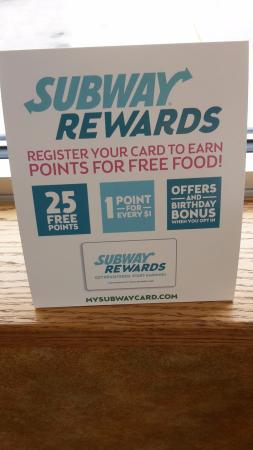Tipton, IA: info on subway rewards benefits