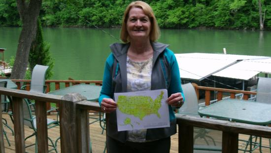 Lilleys' Landing Resort & Marina: Judy documenting her 50th State!