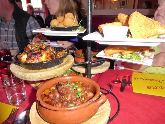 Flamenco Tapas Restaurant: Various tapas dishes. Note the portions