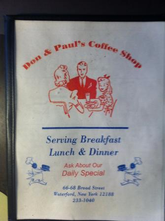 Waterford, NY: Don & Paul's menu