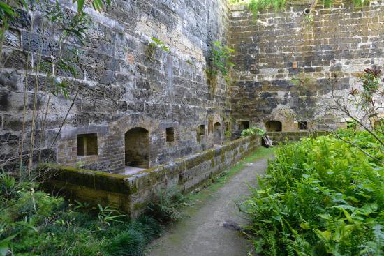 The walls of Fort Hamilton, Bermuda from inside the moat.