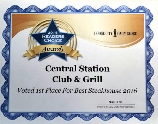 Central Station Bar & Grill: Voted 1st Best Steakhouse 2016