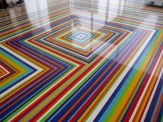 London based sculptor ron mueck created a sculpture for Colourful lino flooring