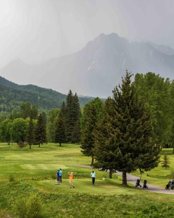 Ферни, Канада: Golf in May. Mount Hosmer in the misty background