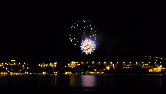 Piccolo Hotel: Fireworks over Limone, seen from our room