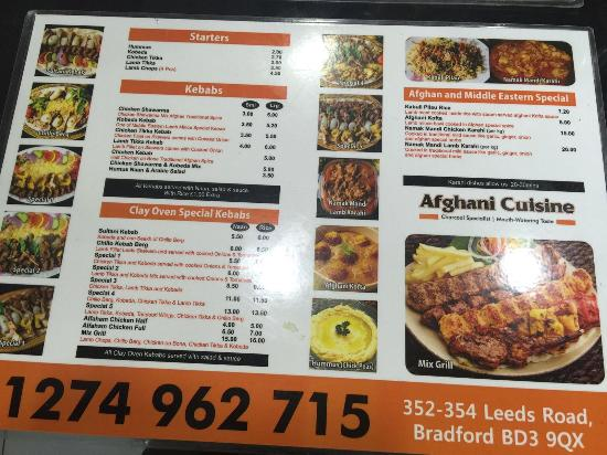 Menu picture of afghani cuisine bradford tripadvisor for Afghan cuisine menu