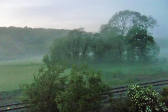 The Portsmouth Arms Inn: mist in the meadow
