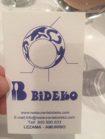 Lezama, España: Restaurante Bideko