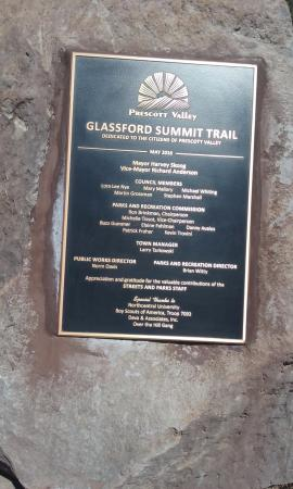 Prescott Valley, AZ: Glassford Summit Trail Dedication Plaque about .75 miles up trail
