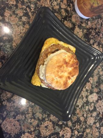 Cafe Vonsolln: Sausage egg and cheese on a biscuit!