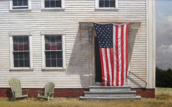 "Manchester, VT: ""The Fifth of July"" oil on linen 30"" x 48"" by Hale Johnson represented by Tilting for over 40 ye"