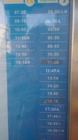 Xia Xing Inn: Bus timetable in Xiaxing. Note: the times are for buses *leaving* Jincheng, not arriving at Xiax