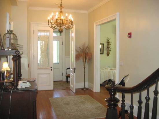 Mount Merino Manor: The entry foyer of the Manor has an authentic Victorian chandelier.