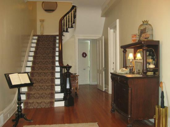 Mount Merino Manor: There is a beautiful mahogany stair case in the entry foyer.