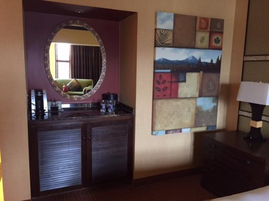 Stateline, NV: Coffee area and frig in the Deluxe King Bedroom