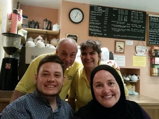 Group shot with Pete and Liz at Medina Coffee House, Aberdovey