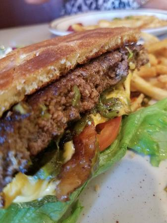 Navajo Dam, NM: The super yummy bacon green chile burger and fries.