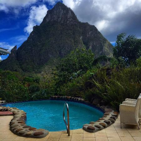 The infinity pool and piton view from the Orchid Villa.