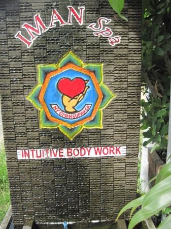 IMAN Intuitive Bodywork & Spa: Sign outside, next to road