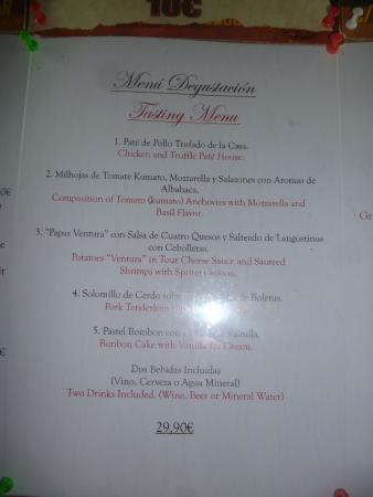 La Ventura: Le menu