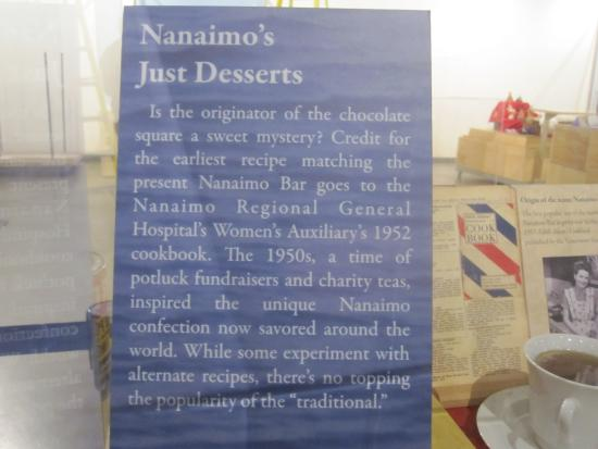 Information about the nanaimo bar and cookbook display