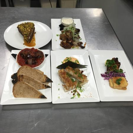 Iowa City, IA: From left to right Beef tartare  Chocolate cake Scallops Beef bulgogi Crispy chicken salad  Shis