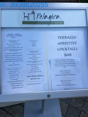 il menù - Picture of Pelagica, Sestri Levante - TripAdvisor