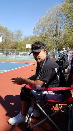 Preston, Коннектикут: Look how happy he is at the pickleball courts! He's not miserable and it's not horrible!