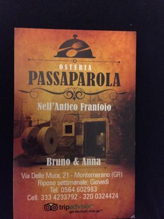 Montemerano, Ιταλία: Biglietto da visita.