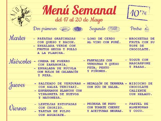Menu semanal fotograf a de palosanto chueca madrid for Menu para comida familiar