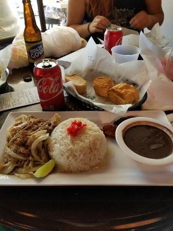 Cuban bread & butter, ham croquettes and Roast Pork dish Mojo ...