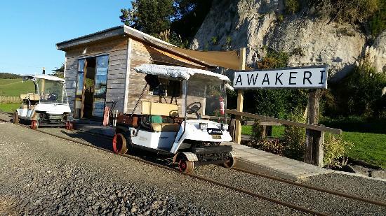 Whakatane, Nieuw-Zeeland: 296315 Awakeri Railway Station with rail carts_large.jpg