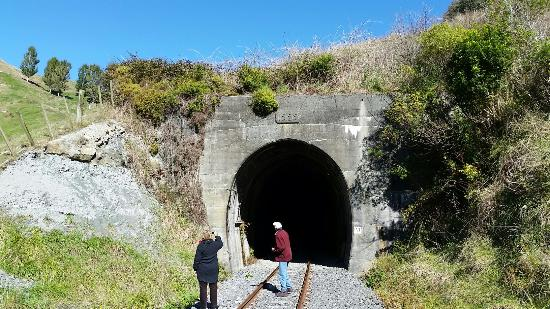 Taumarunui, นิวซีแลนด์: 294880 Tunnel entrance with odd stencil for year constructed_large.jpg