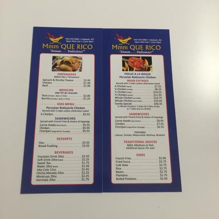 Calabash, North Carolina: New menu