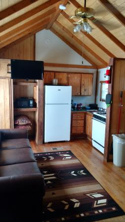 Chama River Bend Lodge: Living room/kitchen of cabin #20