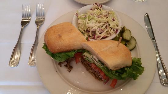 Grass Valley, CA: Hot tri-tip sandwich with coleslaw
