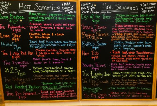 Sweetie's Sandwich Shop : Colorful menu of HOT sammies!