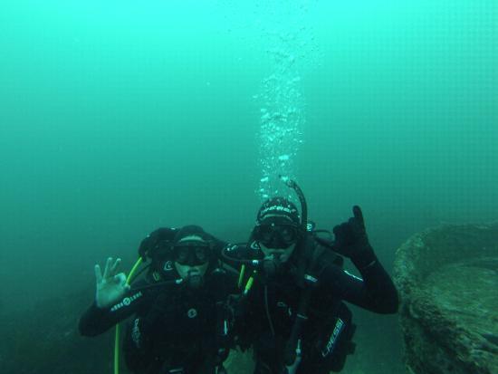 Austral Divers: Foto debajo del agua con el falucho a la derecha!