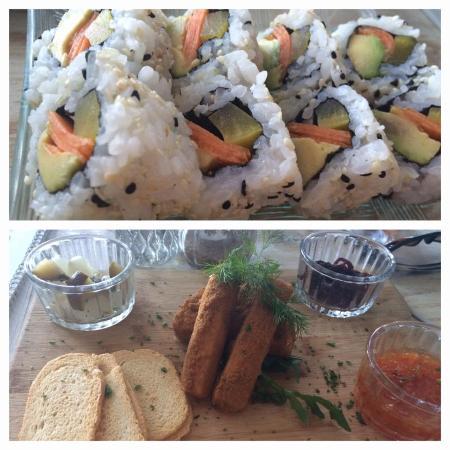 Umdloti, Южная Африка: veg sushi and cheese board starter