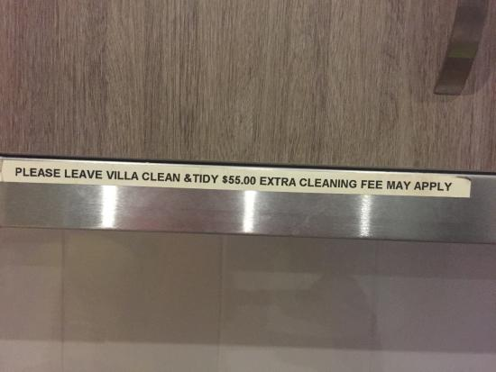 Nobby Beach Holiday Village: Cleaning FEE- Cheeky Really. Clearly a joke